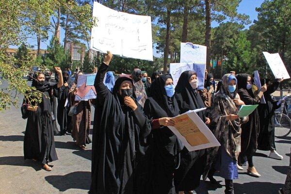 Afghan women protesting in Herat on Thursday.