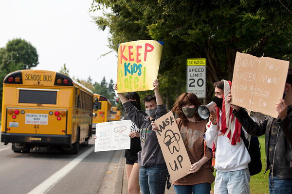 Students at Skyview High School in Vancouver, Wash., showing support for masks on Tuesday. An anti-mask protest last week resulted in a lockdown at the school.