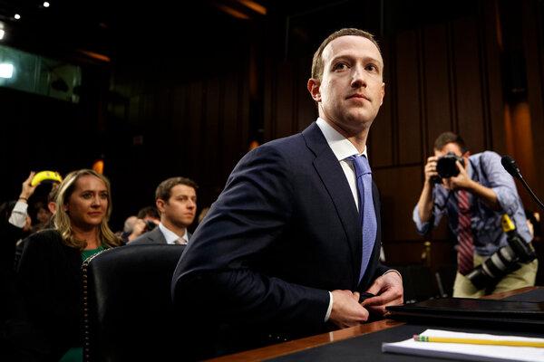 Mark Zuckerberg, chief executive of Facebook, testifying in Washington in 2018.