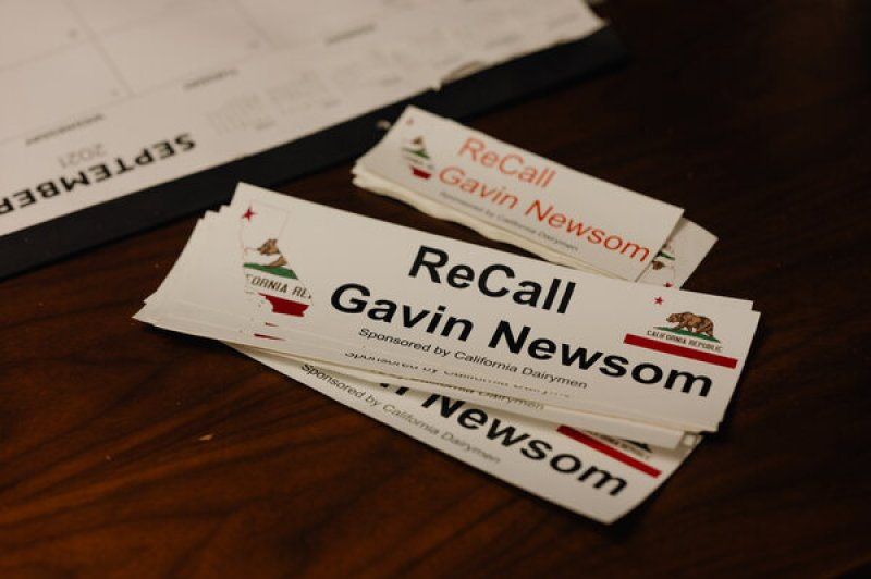 Recall stickers made by Mr. Gordon, who has spent about $44,000 for billboards with the same design throughout California's Central Valley.