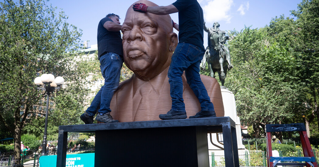 Union Square has statues depicting racial injustice