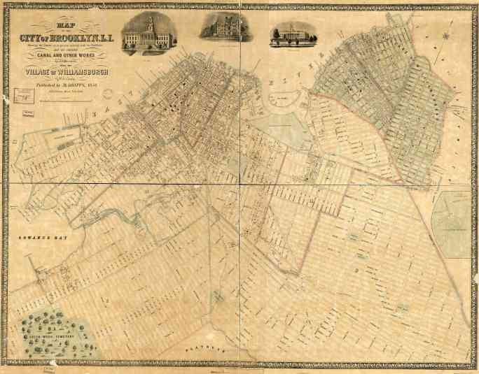 Map of the city of Brooklyn, L.I. : showing the streets as at present existing with the buildings and the intended canal and other works : also the village of Williamsburgh. 1850.
