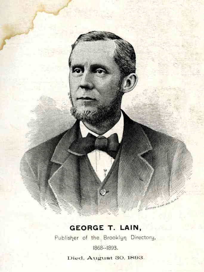 An illustration of George T. Lain, publisher of the Brooklyn City Directory, from the 1894-1895 volume.