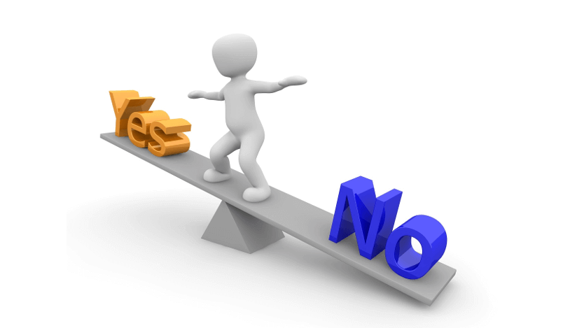 "Graphic of a 3D model balancing itself on a scale with ""Yes"" on one side and ""No on the other"""