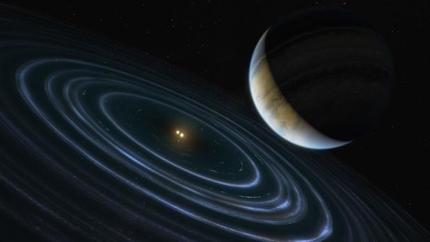 Representación artística de HD106906 b, el exoplaneta de órbita inclinada y alargada