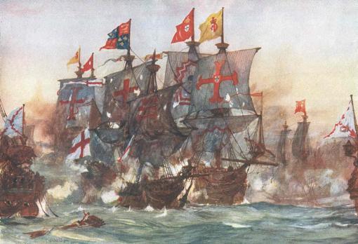 La última batalla del Revenge, según la pintó a comienzos del siglo XX