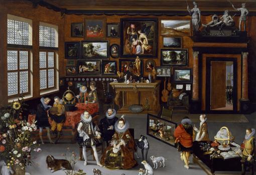 Representación de un gabinete de un coleccionista flamenco durante una visita de los Archiduques Alberto e Isabel.