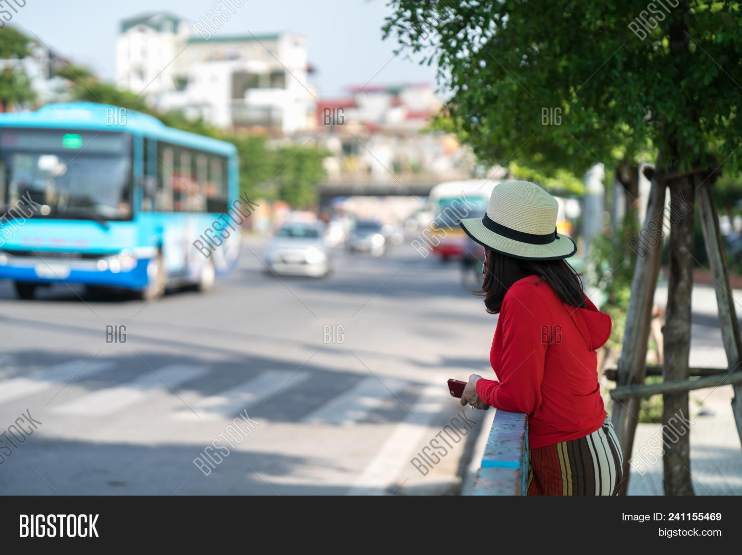 Young Girl Waiting Bus Image Amp Photo Free Trial