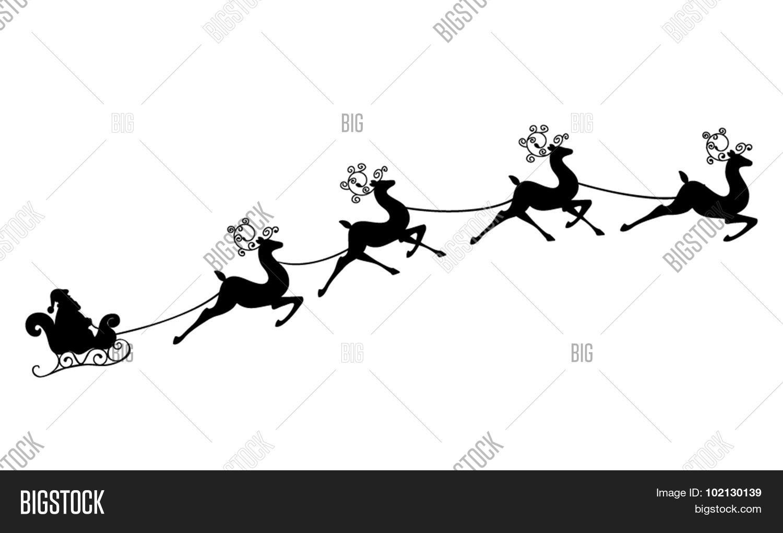 Santa Claus Rides Sleigh On Vector Amp Photo
