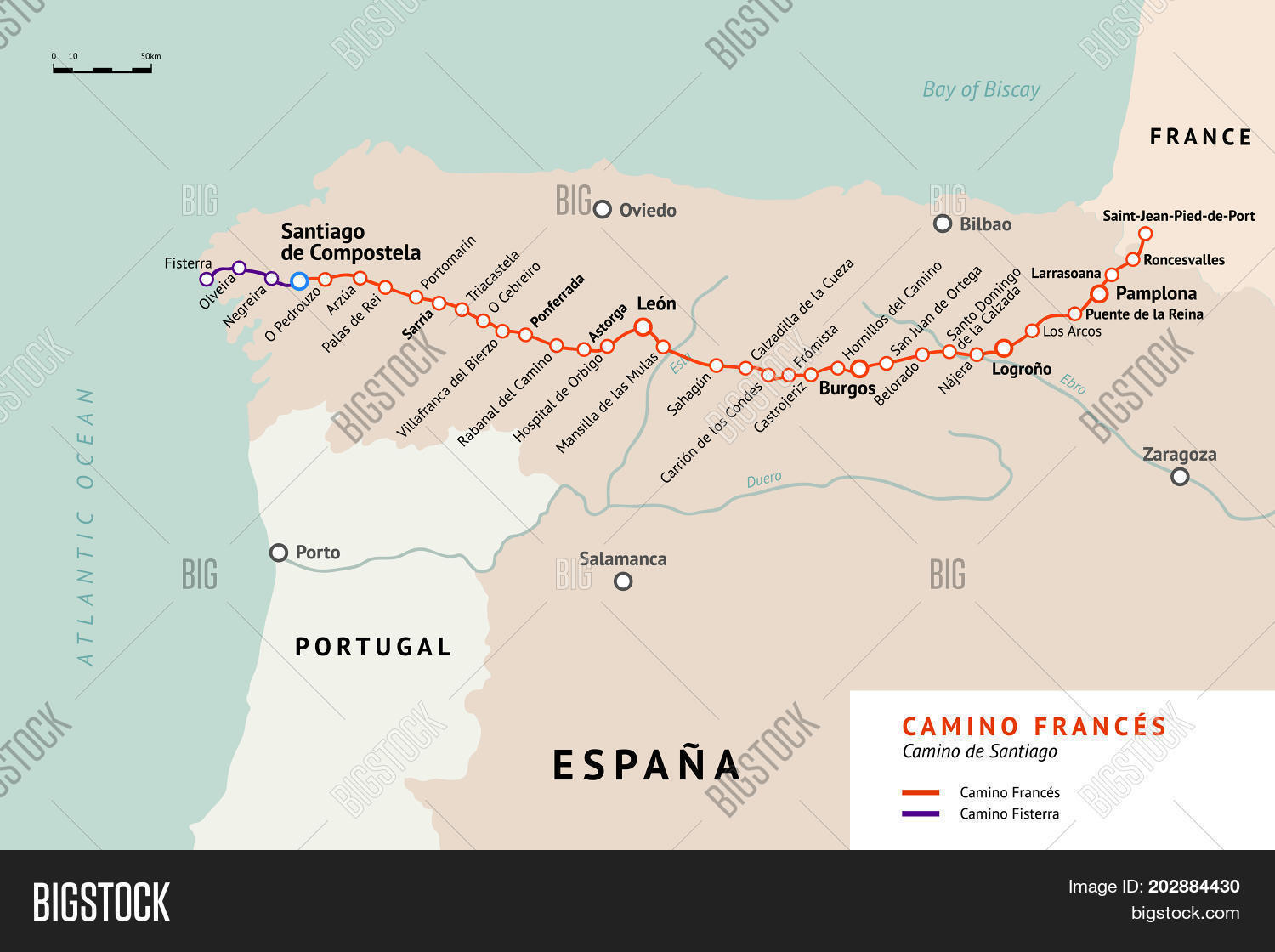 French Way Map  Vector   Photo  Free Trial    Bigstock French Way map  Camino De Santiago or The Way of St James  France