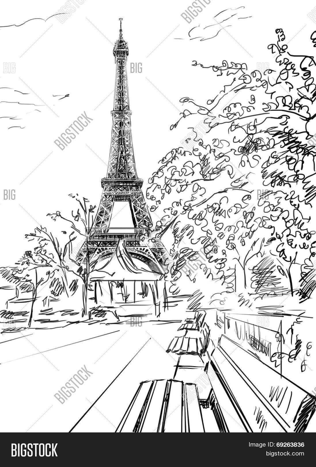 Eiffel Tower Drawing Stock Vector Illustration Of