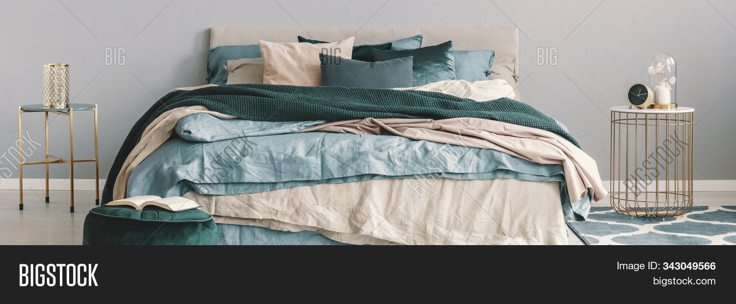 king size bed beige image photo