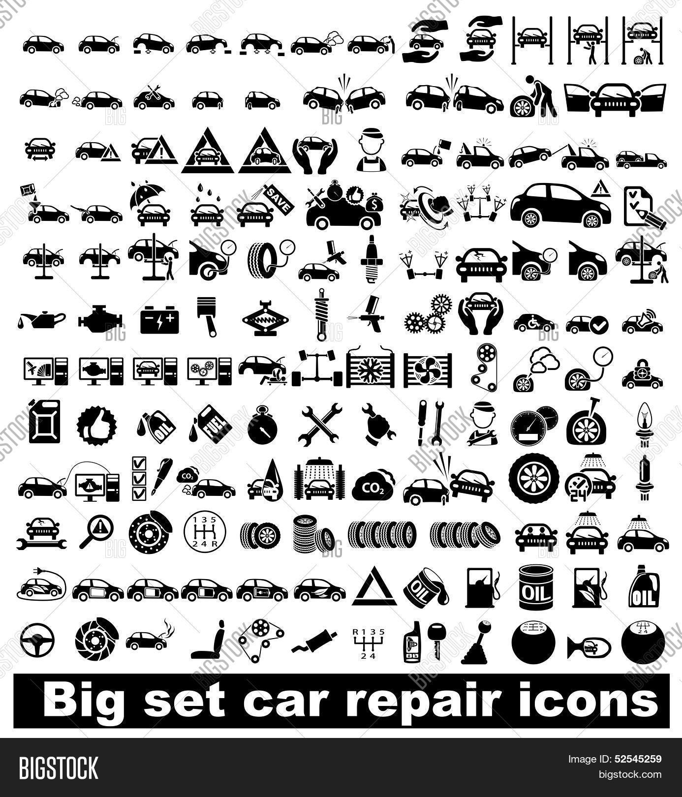 Big Set Car Repair Icons Vector Amp Photo