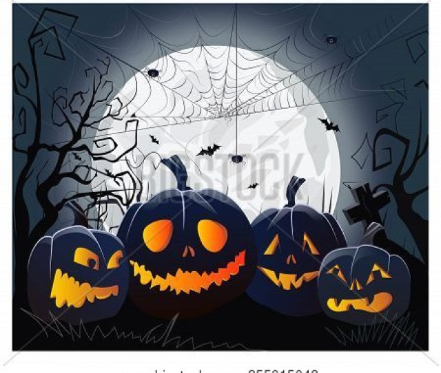 Jack O Lanterns And Cobweb With Spiders Against Moonlight Vector Illustration Halloween Night Background Holiday Concept For Websites Wallpapers