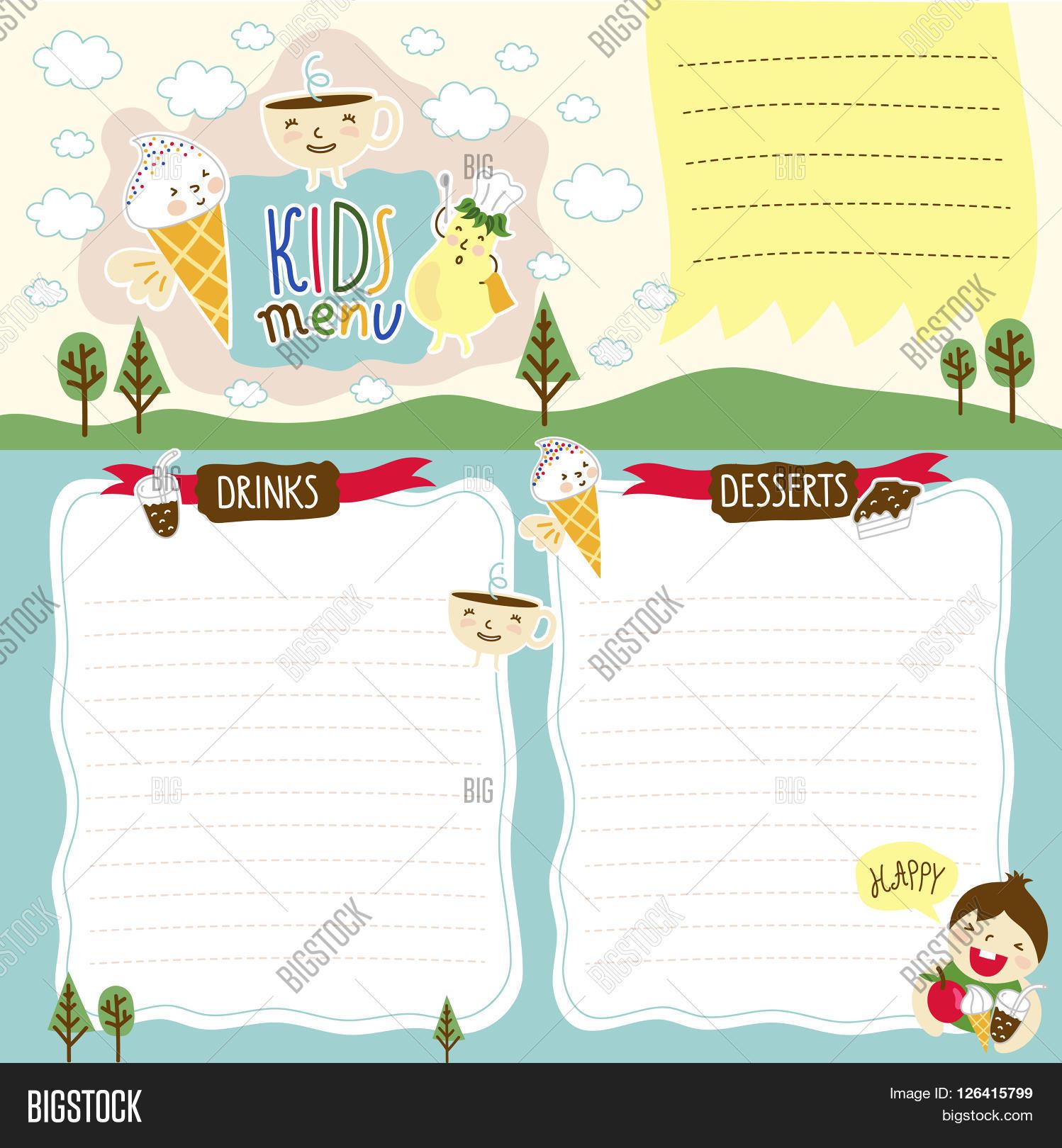 Blank Menu Template For Kids