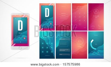 Modern UI GUI Screen Vector   Photo  Free Trial    Bigstock Modern UI GUI screen vector design for mobile app with UX and flat web  icons  Wireframe kit for Lock Screen Login page Enter Passcode User call  Application