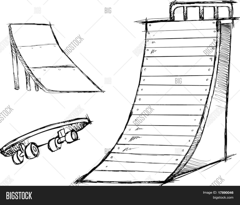 Sketchy Skate Park Elements Vector Vector Amp Photo