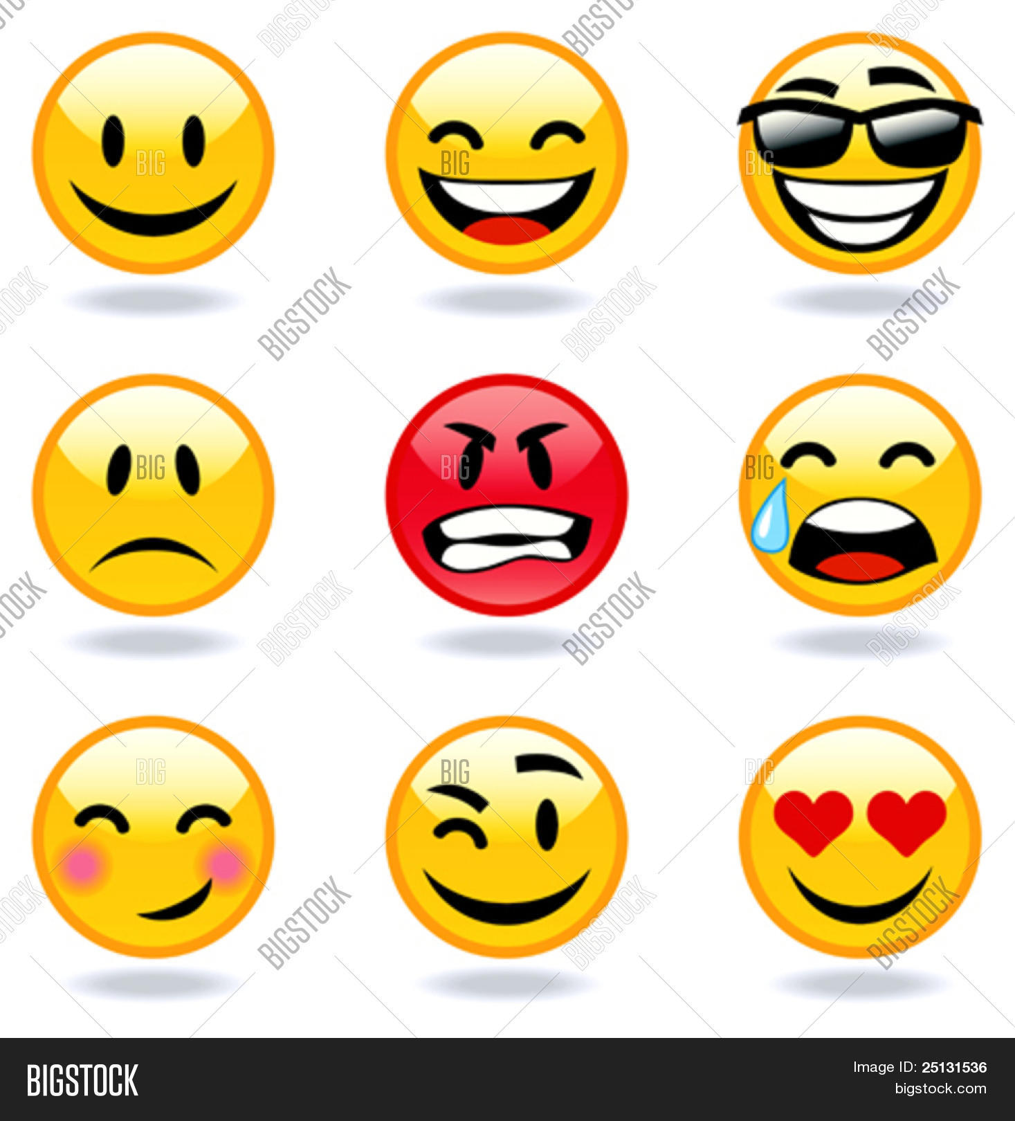 Happy Sad Angry Love Faces Vector Amp Photo