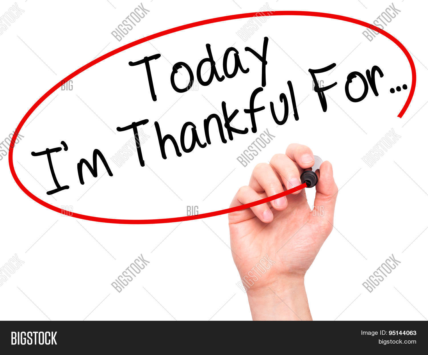 Man Hand Writing Today I M Thankful For With Black Marker On Visual Screen Stock Photo