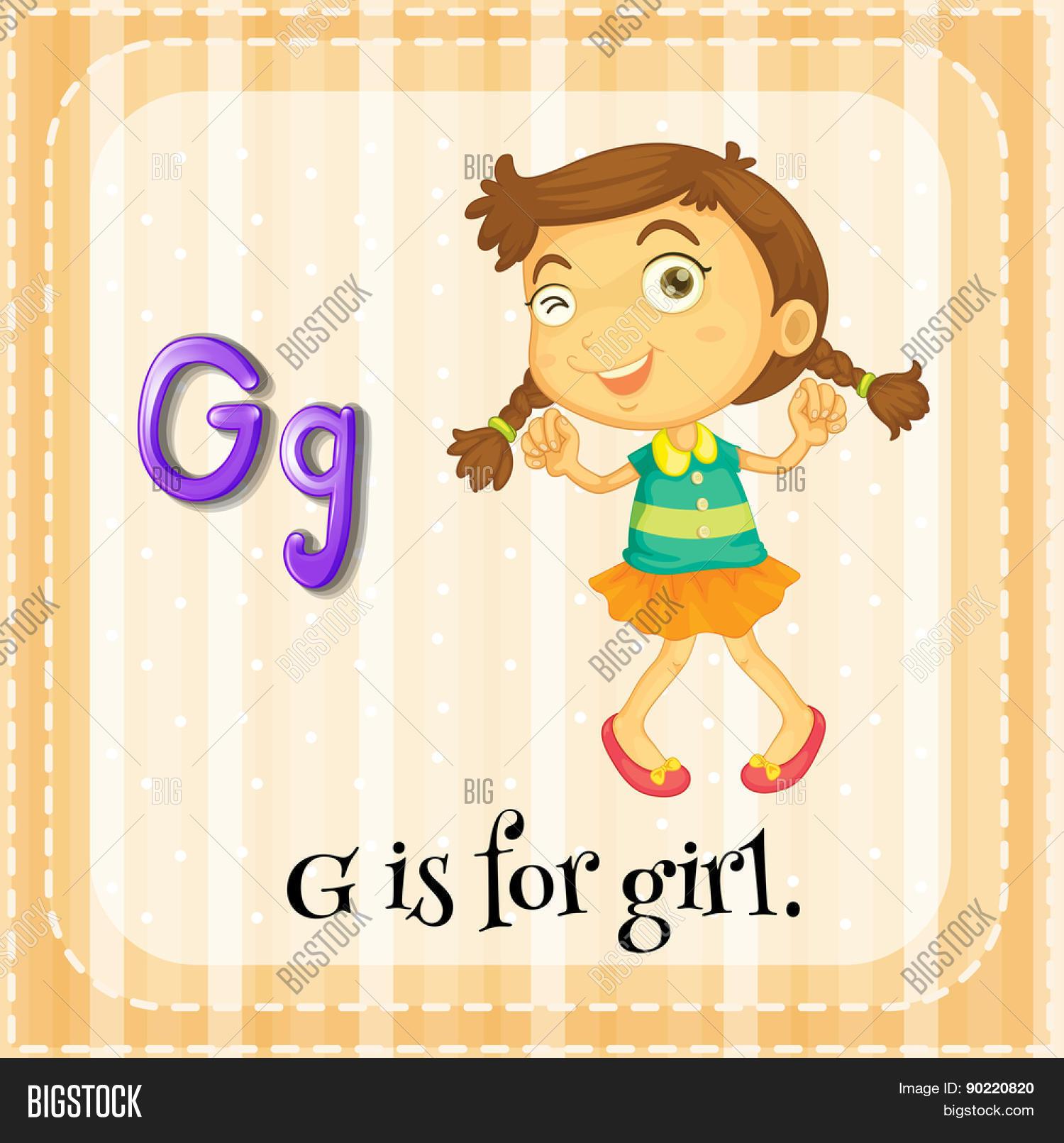 Flashcard Letter G Girl Vector Amp Photo