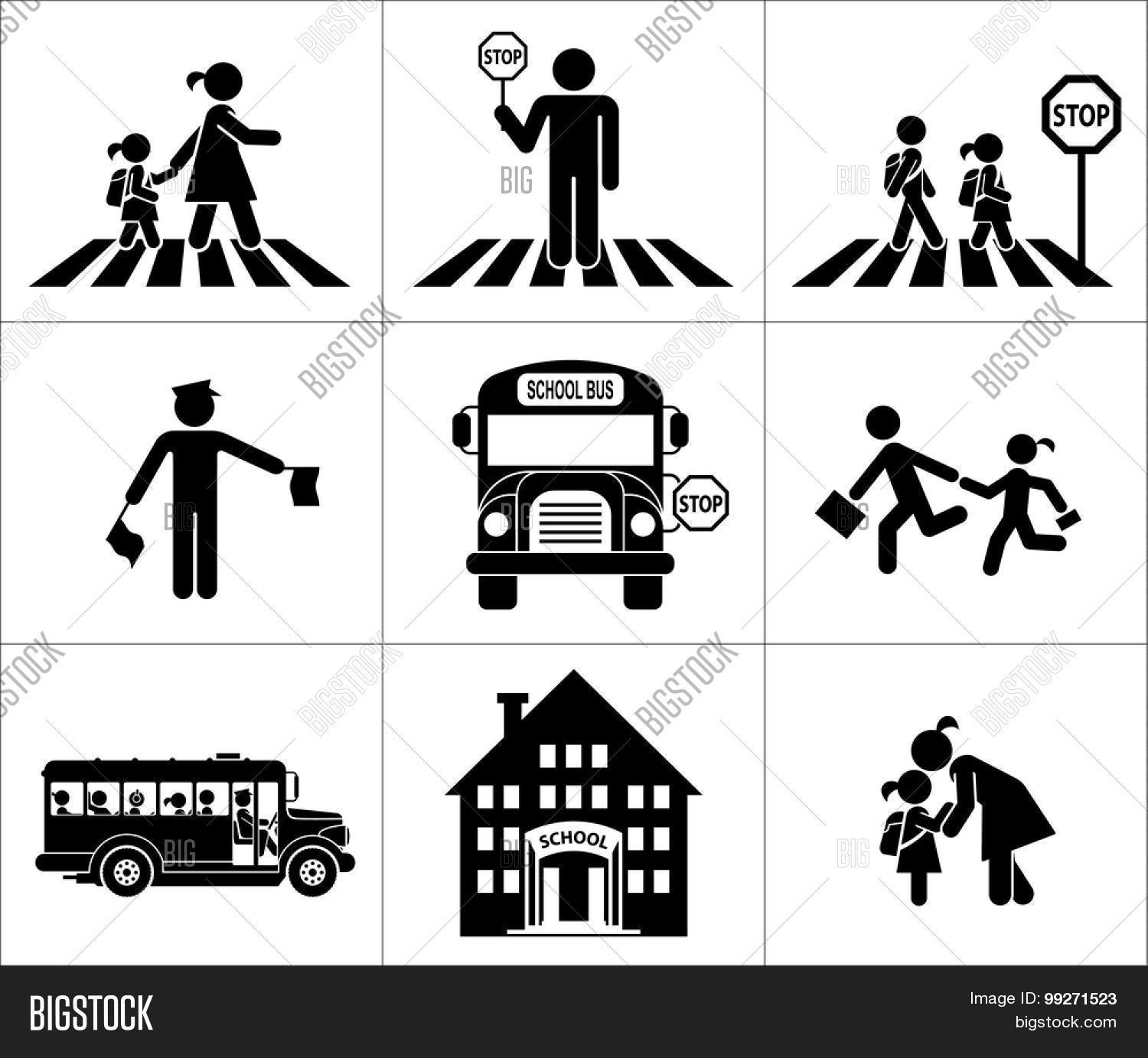 Safety Children Traffic Children Vector Amp Photo