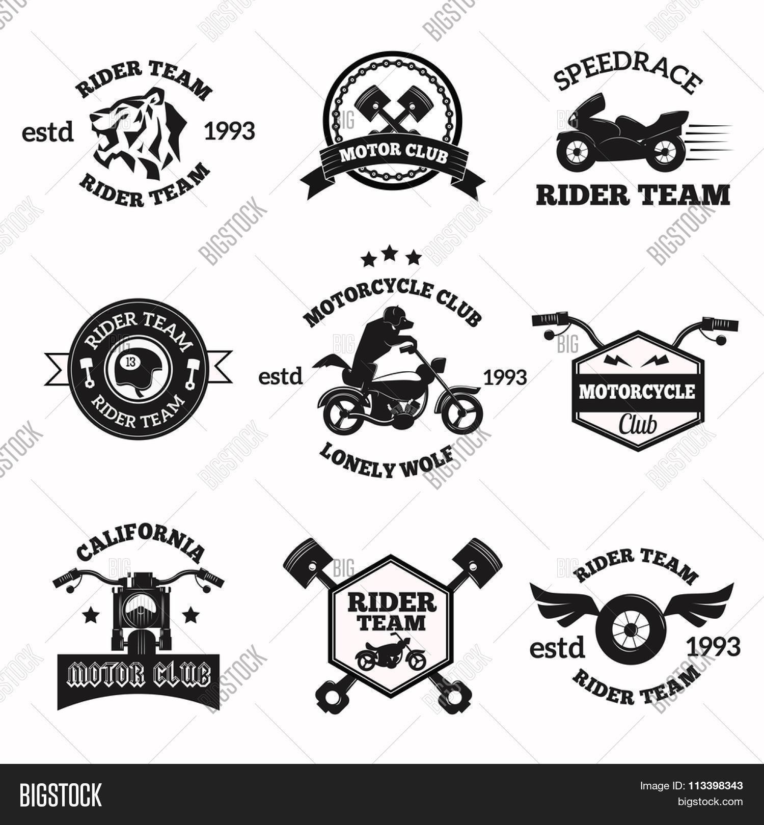 Bikers Badges Emblems Vector Icons Bikers Club Logo Icon