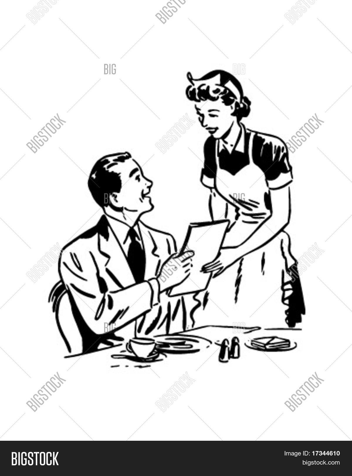 Waitress Handing Out Menu