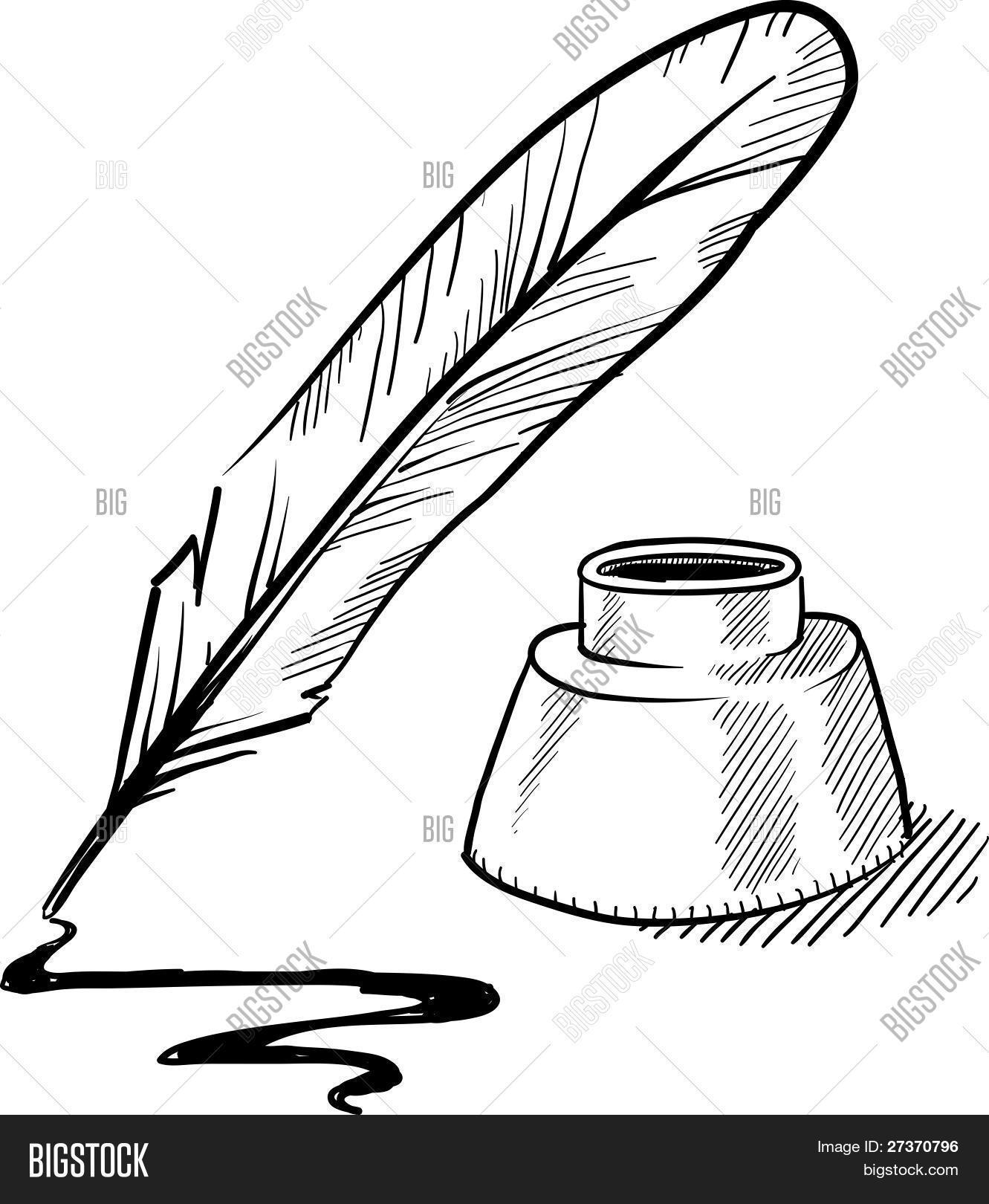 Quill Pen Ink Well Sketch Vector Amp Photo