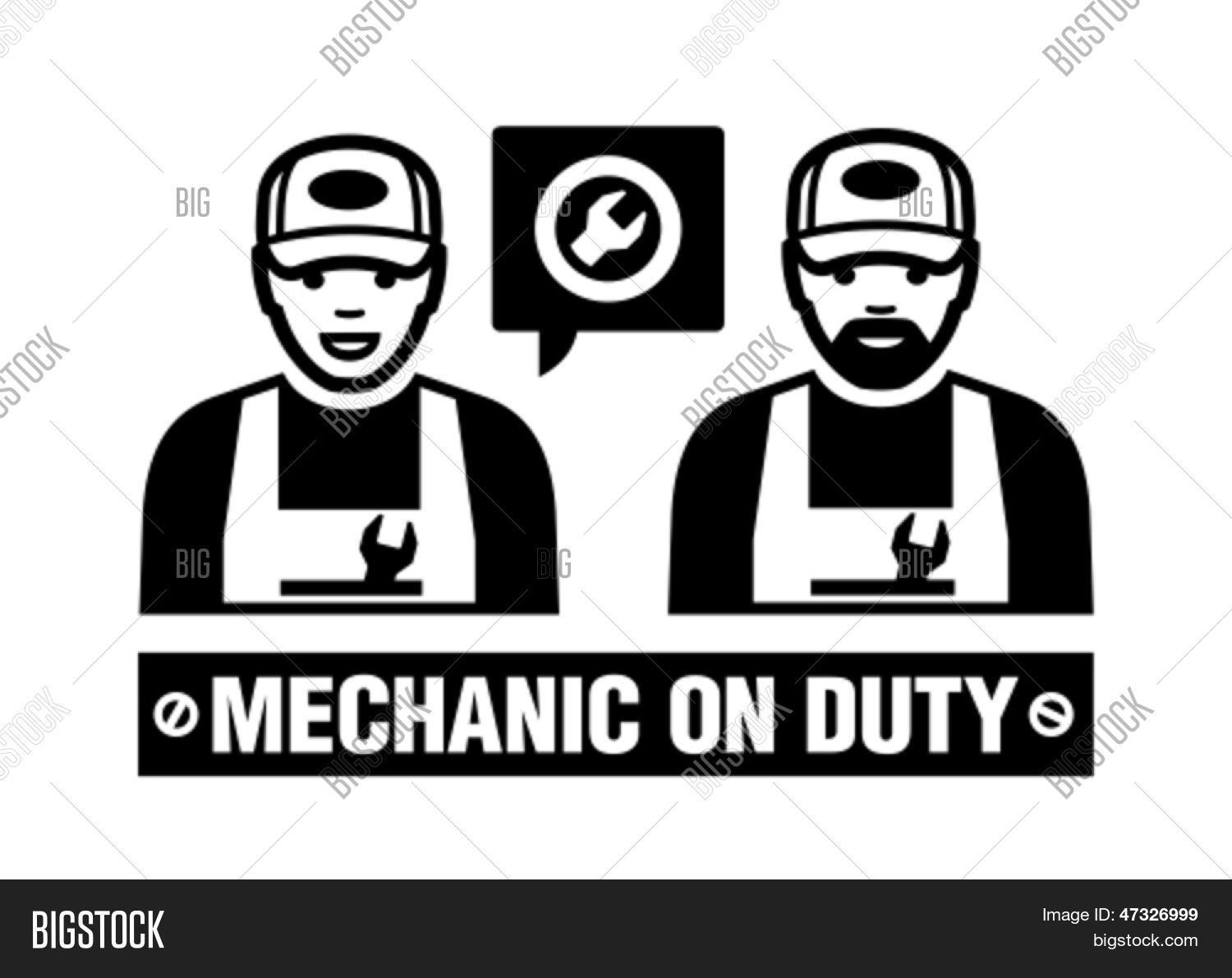 Mechanic Icon Mechanic On Duty Vector Amp Photo