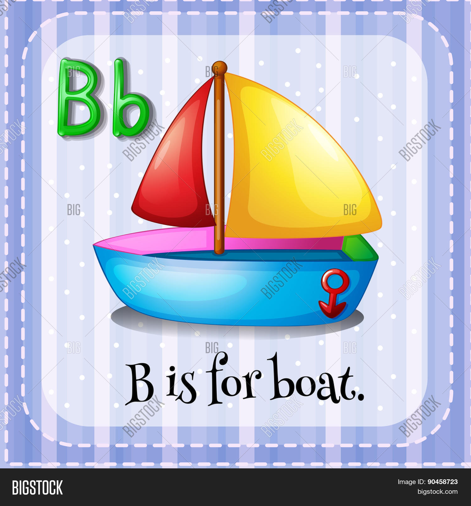 English Flashcard Letter B Boat Vector Amp Photo