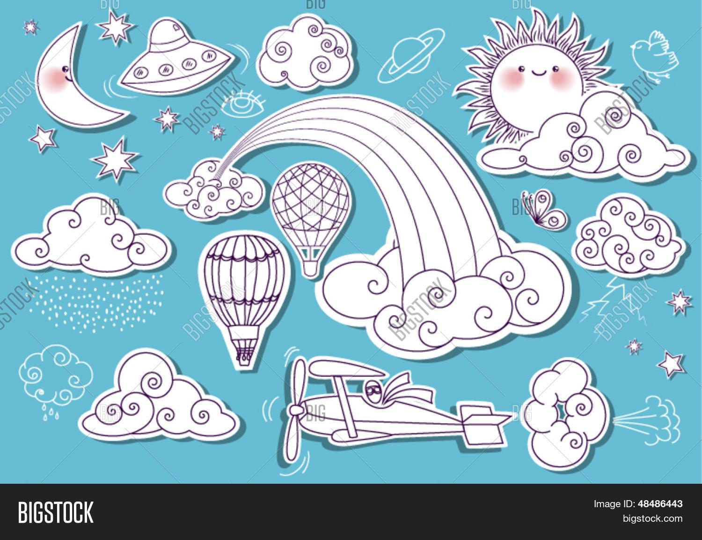 Doodle Elements Sky With Sun Moon Stars Rainbow And