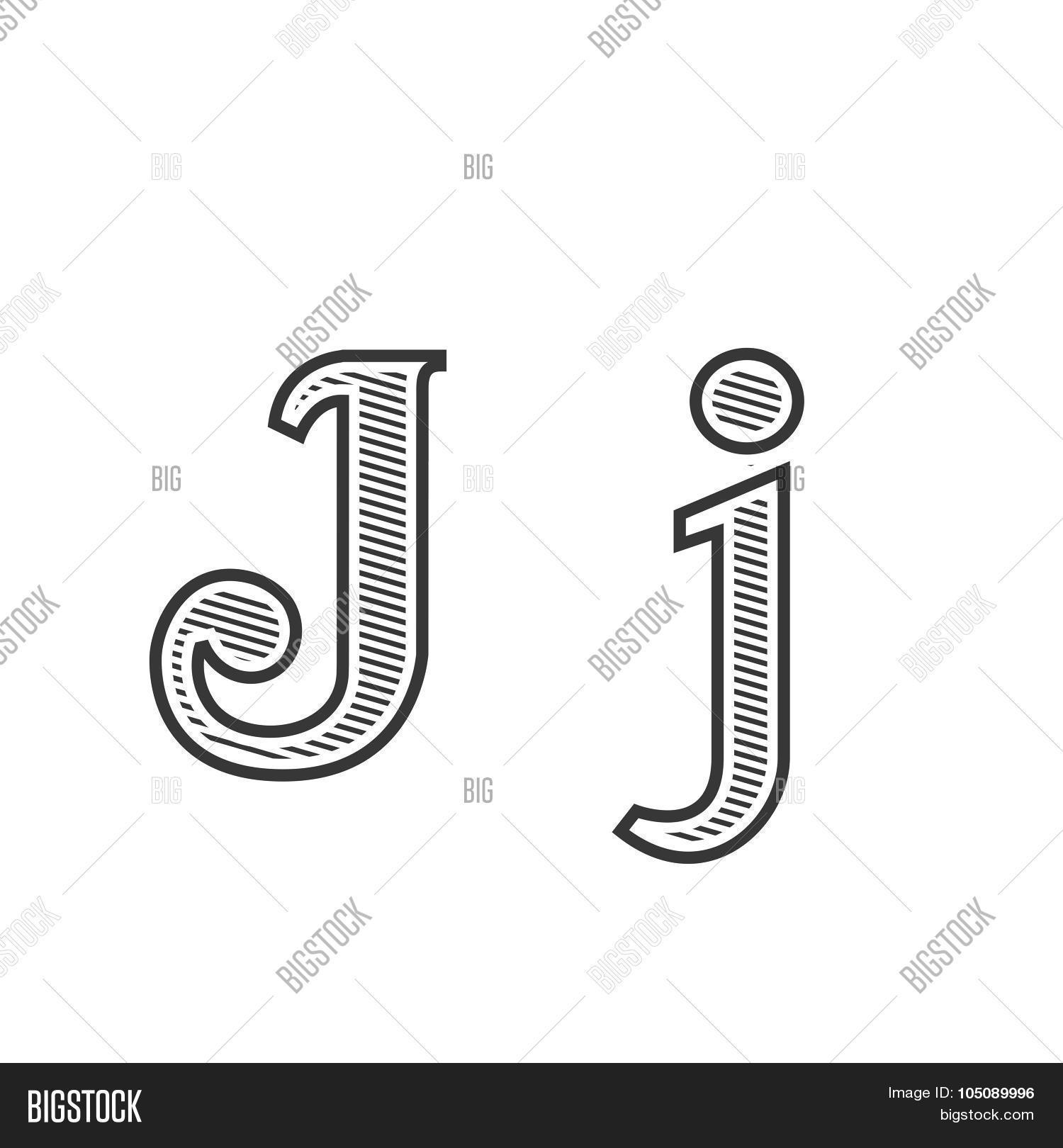 font tattoo engraving letter j with shading stock vector