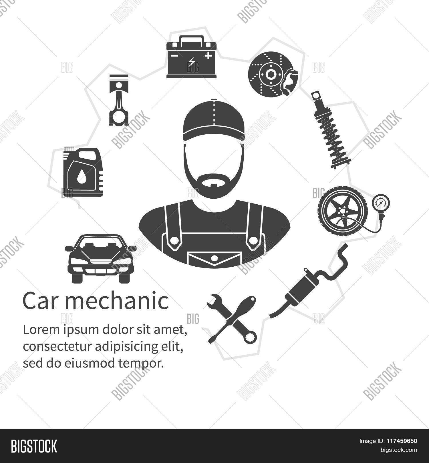 Car Mechanic Icons Tools Spare Vector Amp Photo
