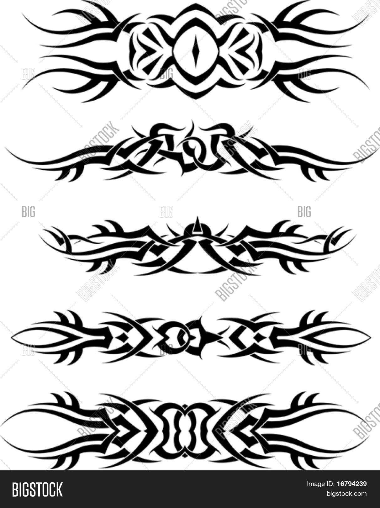 Tatuagem Tribal Braco Banda Conjunto Bancos De Vetores