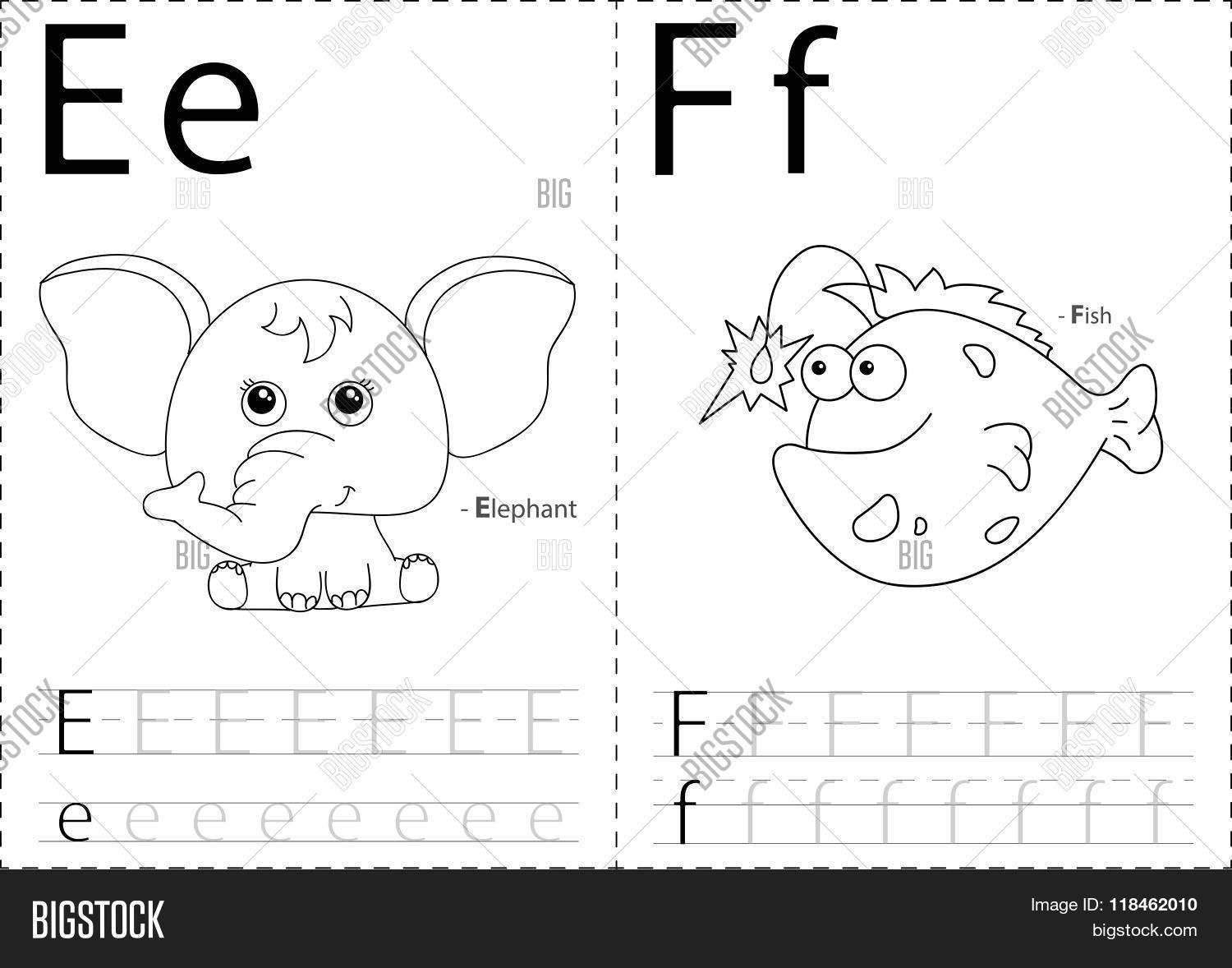 Cartoon Elephant And Fish Alphabet Tracing Worksheet Writing A Z And Educational Game For Kids