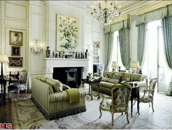 It's filled with antique furnishings, which were included in the $102 million sale price.