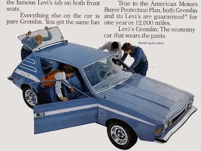 Levi's AMC Gremlin (1973) — 'the economy car that wears the pants'