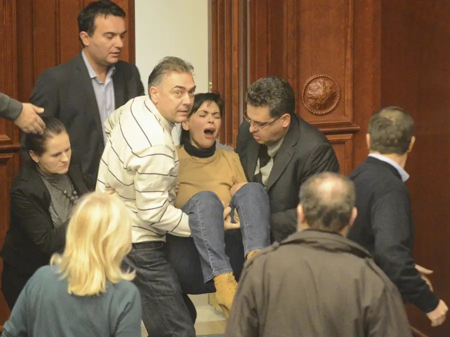 In Macedonia, violent brawling broke out in parliament over the 2013 budget. Police in riot gear had to be called in to break up the fight.