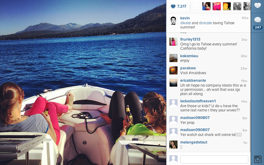 Systrom returned state-side to finish out the month at a friend's wedding, then lounged on a boat in Lake Tahoe.