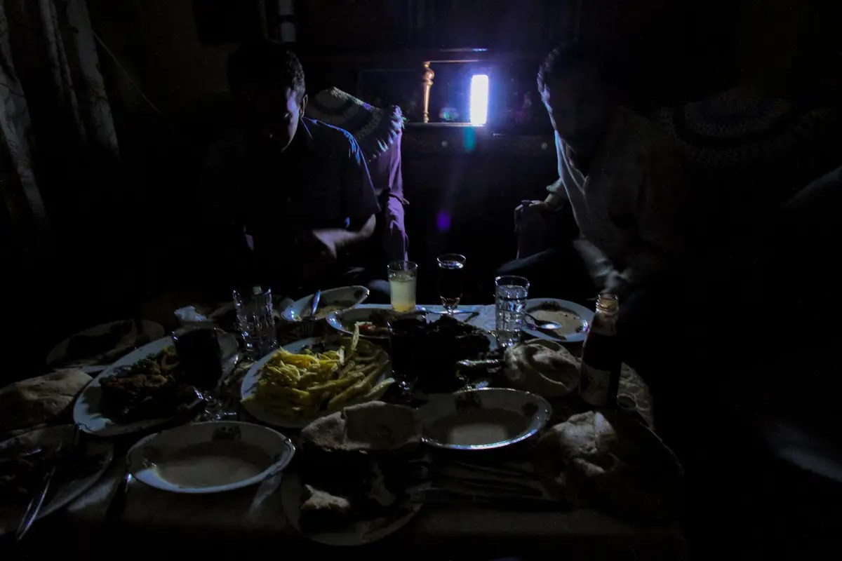 Blackouts are common in Cairo, despite rising electricity rates. This one hit during my dinner with a family in Dar al-Salam outside Cairo.