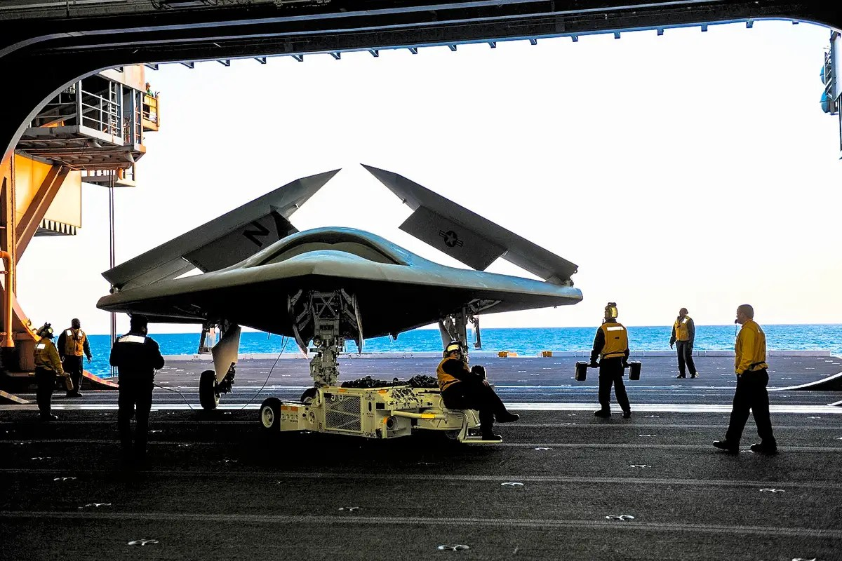 X-47B is a computer-controlled drone that takes off, flies a  pre-programmed mission, then returns to base. All in response to mouse clicks from its  mission operator.
