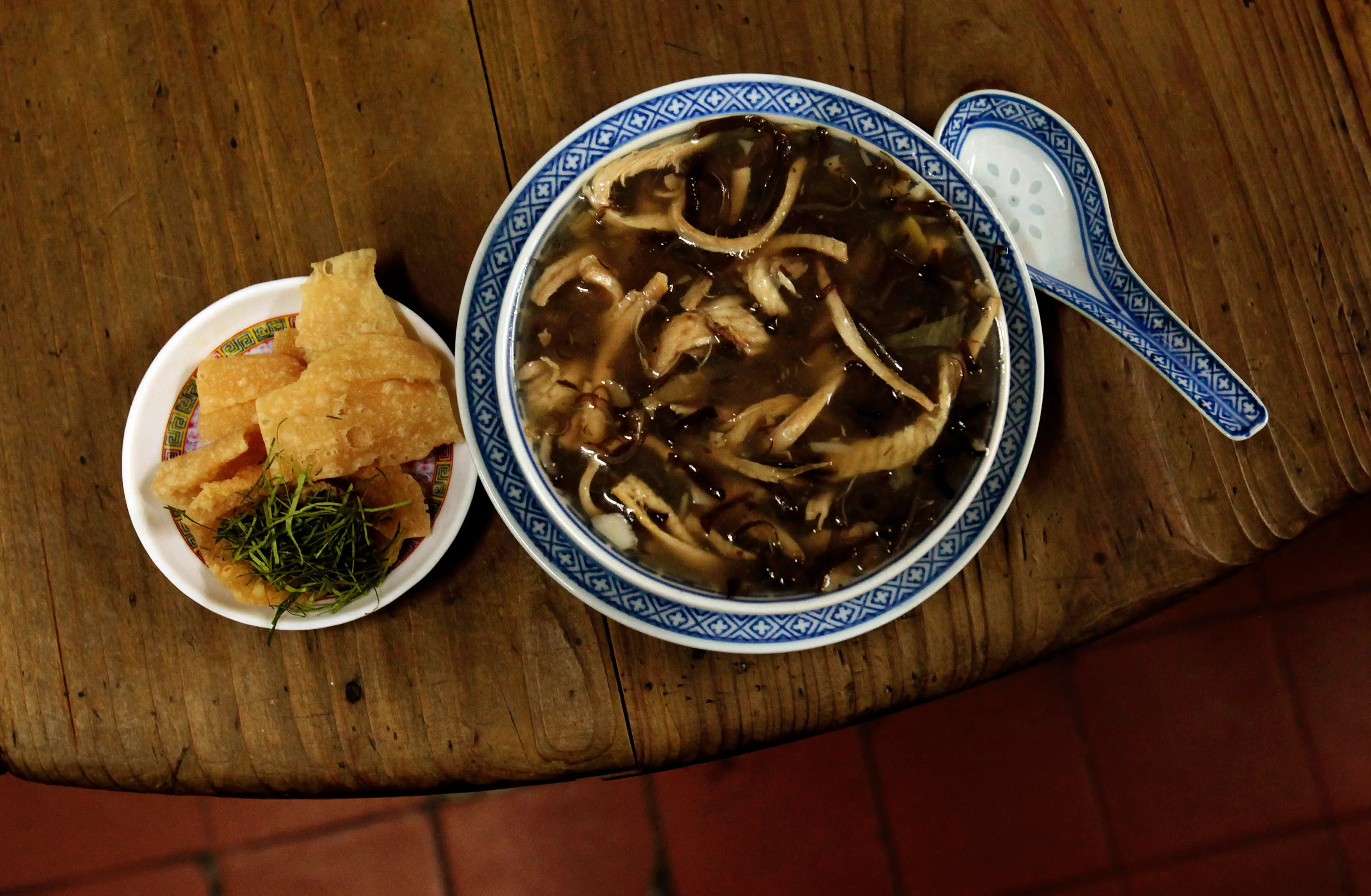 Snake meat is seen as part of a soup dish in China, where snake meat is a traditional part of many regional cuisines and is believed to be good for the health.