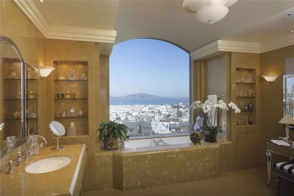 Here's a look at the master suite bathroom, complete with a bathtub overlooking the city.