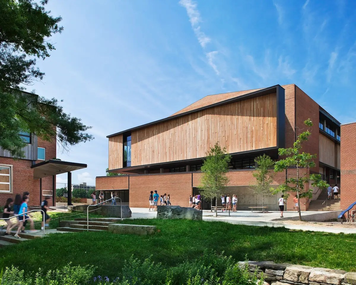 With this project, an unremarkable gymnasium from the 1950s was converted into a meeting house and arts center for the Sidwell Friends School, a Quaker-affiliated school in Washington, D.C. (KieranTimberlake)