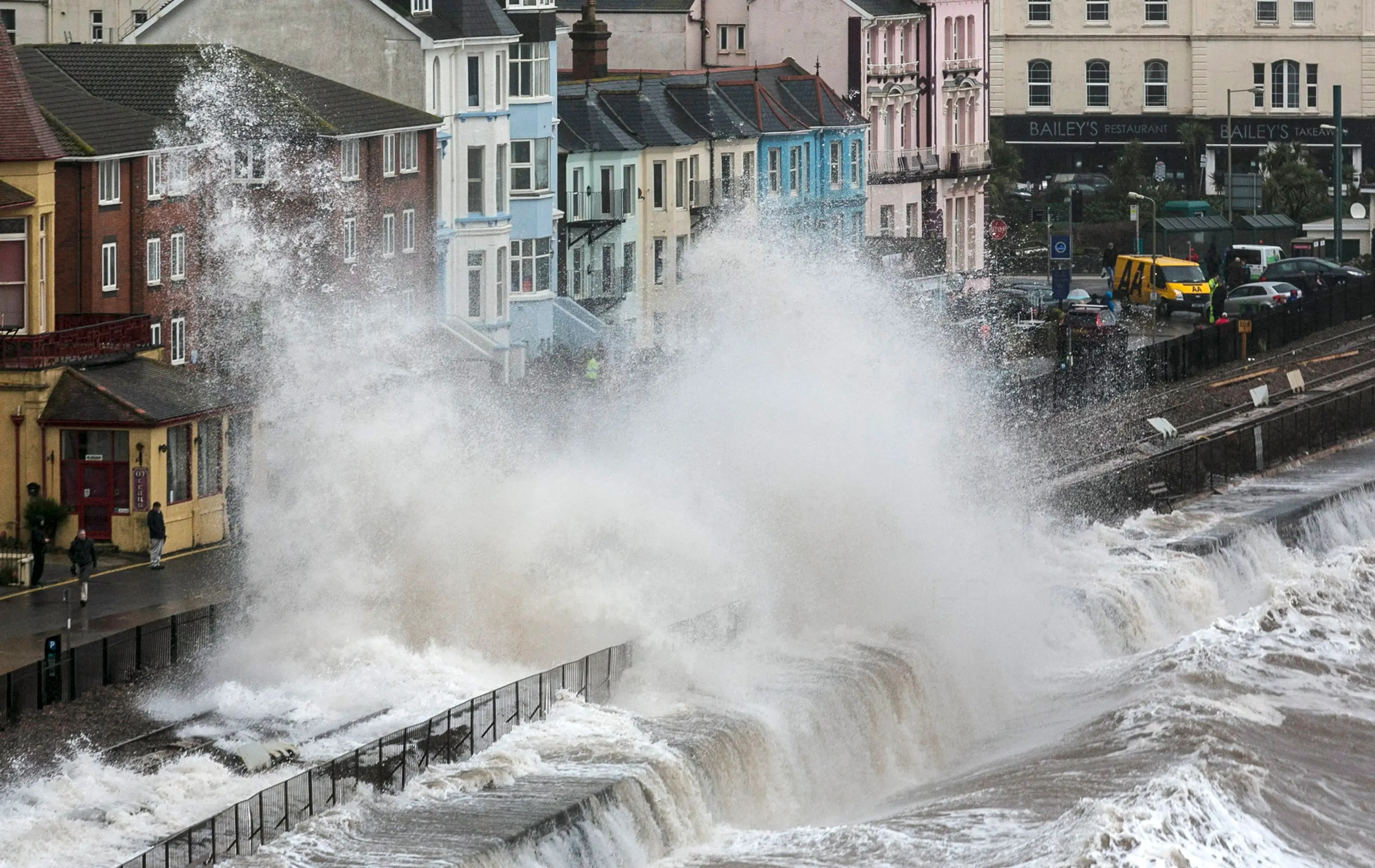Massive floods caused by a giant storm hit the UK in February.
