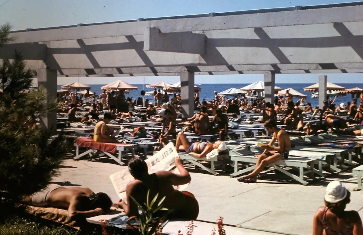 Deck chairs were set up for catching some rays.