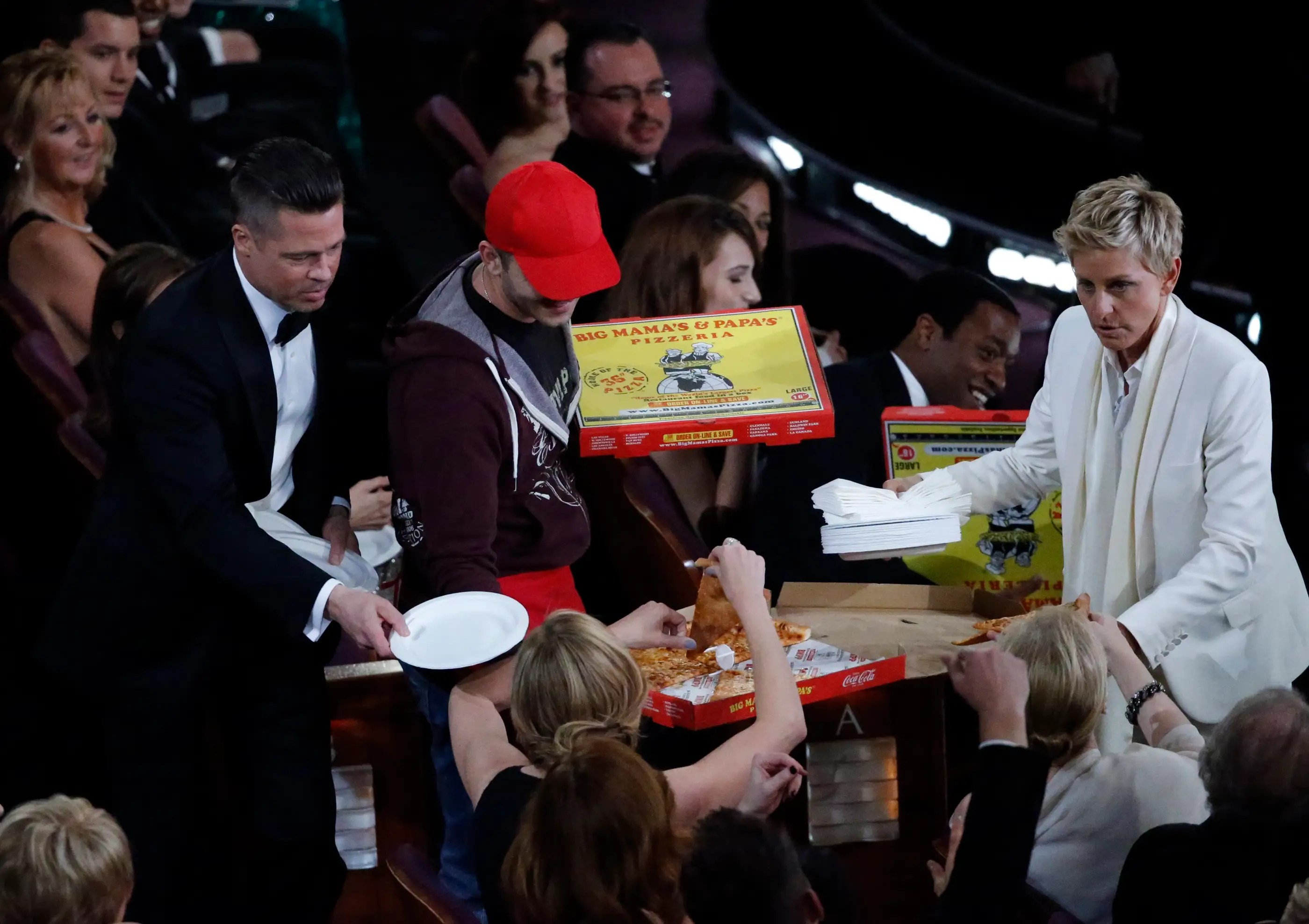 ... or handing out pizza to actors with an actual delivery boy.