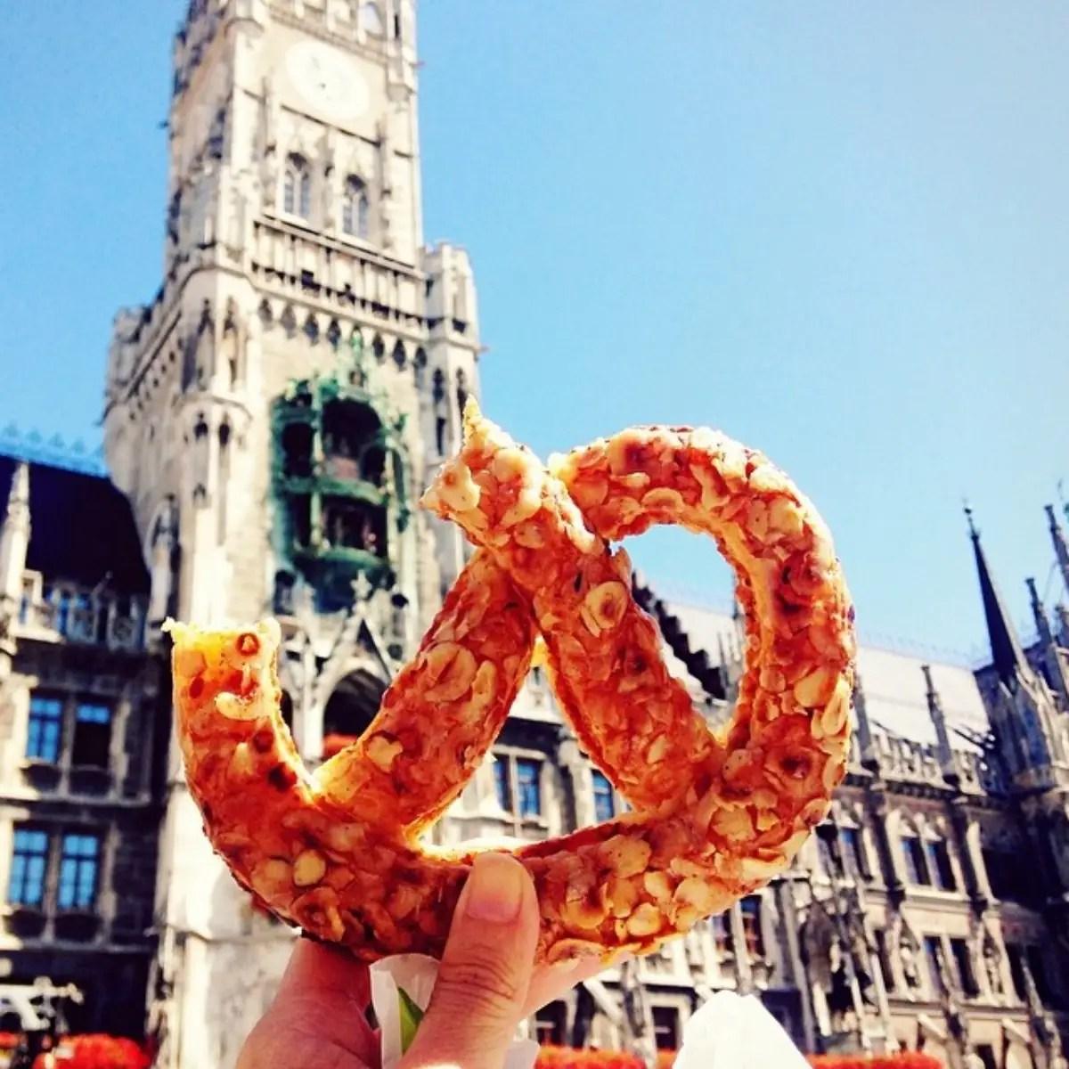 Yummy pretzel in Marienplatz, Munich, Germany.