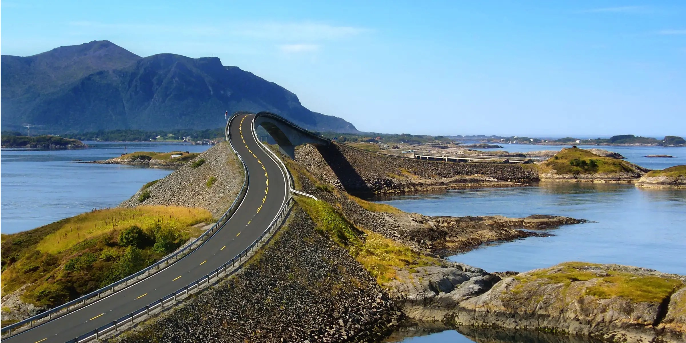 The Atlantic Road in Norway stretches across seven bridges and offers a beautiful view of the Atlantic Ocean. If you drive in calmer weather, you might even see whales and seals.
