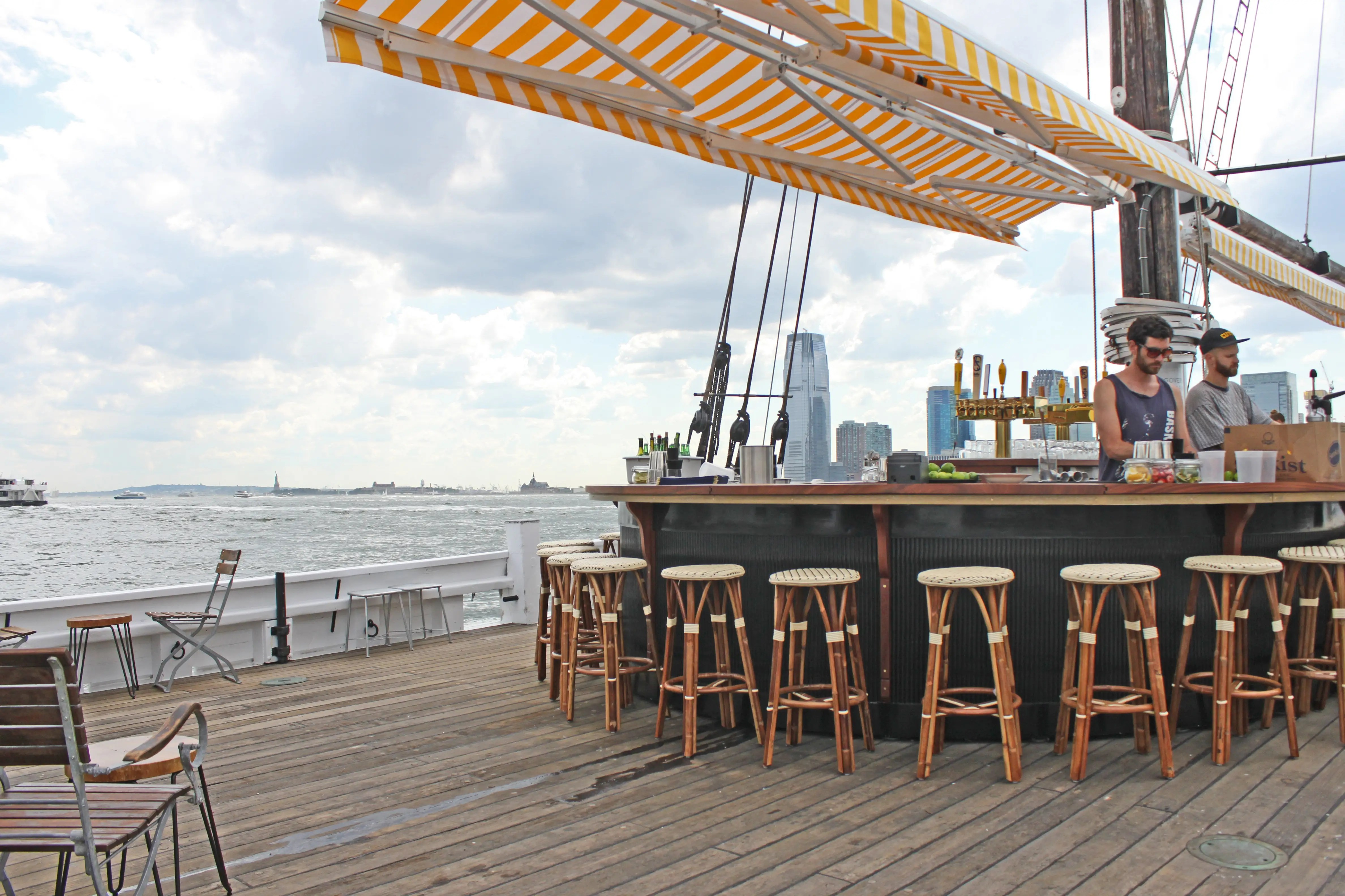 There is a full-service bar, which offers nautical themed cocktails, as well as beers from Red Hook's Other Half Brewery Company.